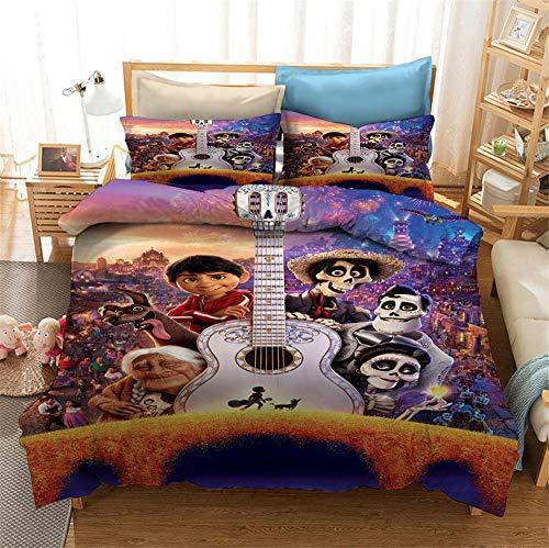 Meiju Duvet Cover Set for Boy Girl Single Double King Bed, 3D Printed Teenager Children Kids Bedding Set with Microfiber Zipper Quilt Case & Pillowcases (Disney Coco 1,200x200cm)