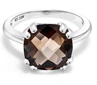 Gem Stone King 925 Sterling Silver Brown Smoky Quartz Women Ring (3.85 Ct Cushion Checkerboard, Available in size 5, 6, 7,...