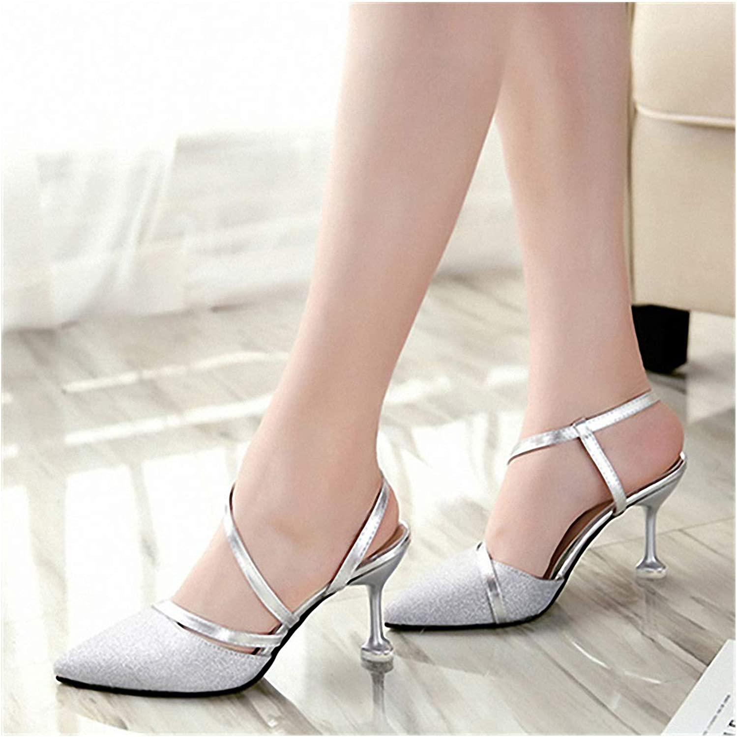 Tebapi Womens High-Heeled Pumps shoes Spring Heel High Heels Sandals Lady Pumps Classics Slip on shoes Sexy Women Party shoes gold Silver Wedding Slingbacks 8cm