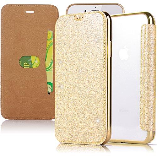 iPhone X telefoonhoesje goud, iPhone X hoesje glitter, Slynmax iPhone X hoesje siliconen Bling Sparkle glanzende Glitter Electroplate Plating Flip Folio lederen hoesje portemonnee Slim Fit + transparant duidelijk
