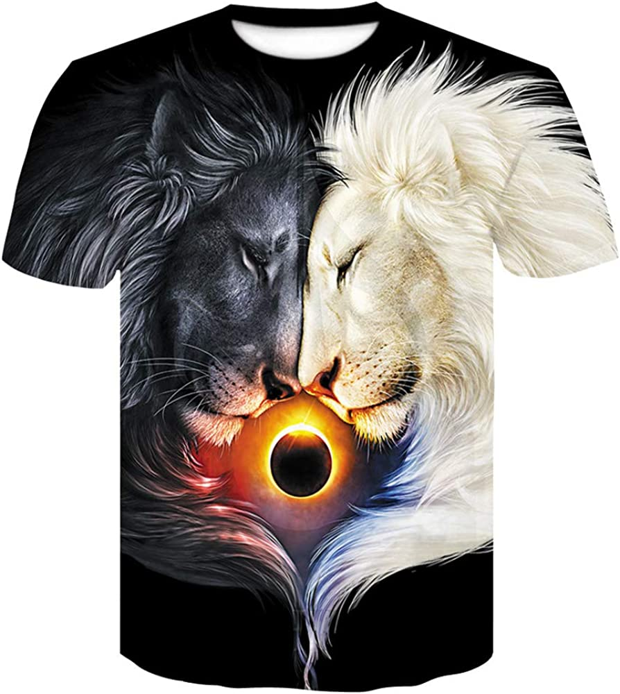 LODFJF Boys Girl Novelty 3D Lion Graphic O-Neck Pullover Tees Cool Funny Short Sleeve T Shirts