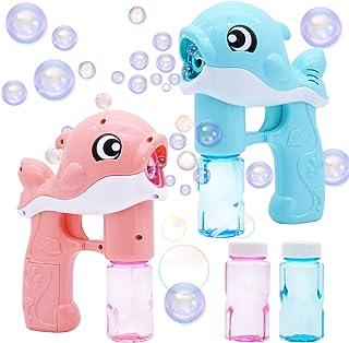 2 Bubble Guns Kit Whale Automatic Bubble Maker Blower Machine with 2 Bubble Solutions for Kids, Bubble Blower for Bubble B...