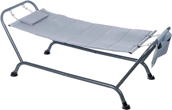 Amaca lettino grigio con struttura in acciaio, tessuto impermeabile e tasca portaoggetti by enrico coveri B08XNYHK2X