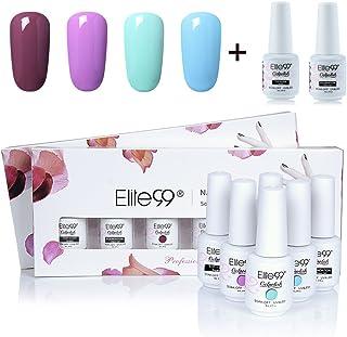 Gel Nail Polish, Elite99 Soak off UV LED Gel Polish Varnish Nail Art Gift Set 4 Colors + Base Coat and Top Coat 8ml (C029)