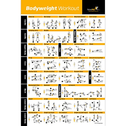 Bodyweight Übungsposter – Total Body Workout – Personal Trainer Fitness Programm – Home Gym Poster – Tones Core, Bauchmuskel, Beine, Gluts & Oberkörper – verbessert das Training Routine – 50,8 x 76,2 cm