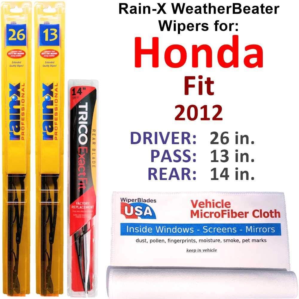 Rain-X WeatherBeater Wipers for 百貨店 2012 w Fit Rear Set 信託 Honda