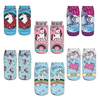 Calcetines de las mujeres Niñas de dibujos animados Animal Calcetines Emoji Unicornio Navidad Acción de Gracias Calcetines de Arte Pintura de la tripulación