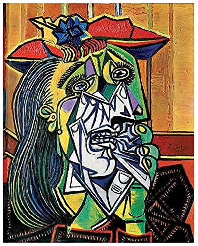 LangGe Abstrakte Graffiti 40x60cm rahmenlose Pablo Picasso Poster Retro Wandkunst Frau Malerei abstrakte Charakterbild Druck Wohnzimmer Dekoration