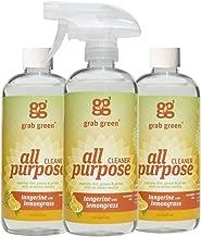 Grab Green Naturally-Derived, Tangerine with Lemongrass, 16 Ounce Bottle (3-Pack), Biodegradable All Purpose Cleaner, Residue & Streak-Free Finish