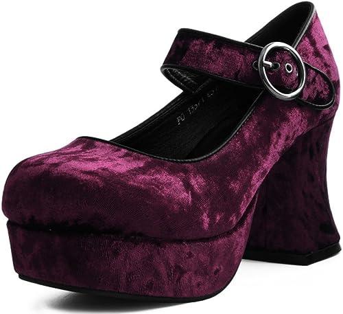 T.U.K. chaussures Femme Bourgogne Crush Mary Jane Marley Talon Plate-Forme EU38   UKW5