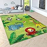 paco home tappeto per bambini pelo corto giungla con animali verde, dimensione:120x170 cm