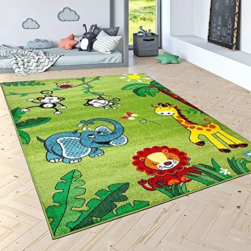 Kinderteppich Spielteppich Paco Home Dschungel Tiere Palmen AFFE Elefant Giraffe Löwe Grün, Grösse:80x150 cm