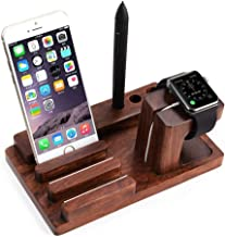 anowey Multifunction Universal Rosewood Phone Holder Organizer Stand Charging Station For iwatch For Smartphone Tablet and Pen Holder