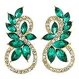 Brillante Rhinestones Verde Azulado Marquesa Cristal 8 Formas Infinitas Oro Pendientes, Fiesta Prom Vestir