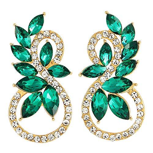 Scintillante Strass Verde Marquise Cristallo 8 Forma Infinita Oro Orecchini, Festa Ballo Abito da Sera