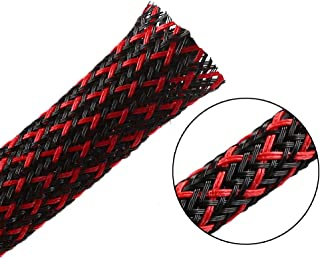 25ft - 1/2 inch PET Expandable Braided Sleeving – BlackRed – Alex Tech Braided Cable Sleeve