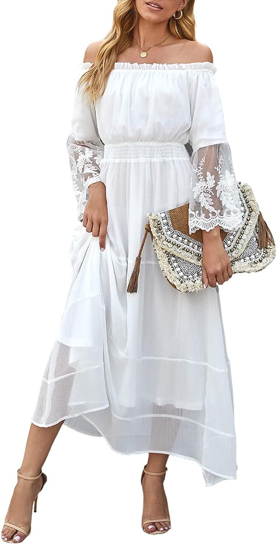 Bdcoco Women's Off The Shoulder Swiss Dot Wedding Dress Short Sleeve White Bridesmaid Evening Party Maxi Dress
