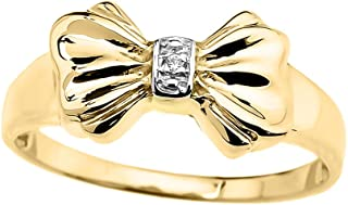 Unique 10k Yellow Gold Diamond Ribbon Bow Tie Ring