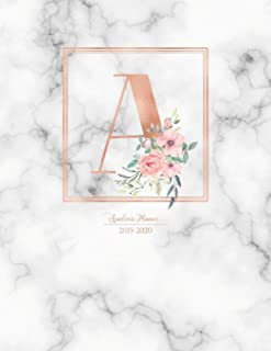 Academic Planner 2019-2020: Rose Gold Monogram Letter A with Pink Flowers over Marble Academic Planner July 2019 - June 2020 for Students, Moms and Teachers (School and College)