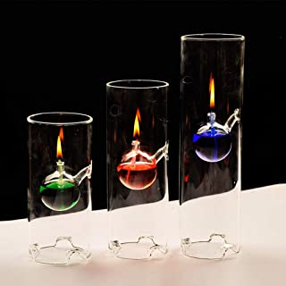 HOBULL 1 Set/3 SizeRefillable Oil Lamp Transcend Clear Glass Unscented Pillar Candle Long Lasting Tea Lights Unique Gift