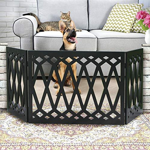 Etna 3-Panel Diamond Design Wood Pet Gate - Decorative Black Tri Fold Dog Fence for Doorways, Stairs - Indoor/Outdoor Pet Barrier - 24-48 Inches Wide x 19 Inches Tall