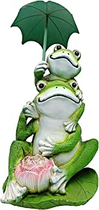Famiwarm Frog Garden Statues and Figurines Outdoors Garden Frog Statues Outdoor Decor Frog Sitting Statue for Yard Ornaments Figurines Decorations (with Umbrella)