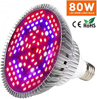 Led Grow Light Bulb, 80W Plant Lights Full Spectrum for Indoor Plants Hydroponics, Led Plants Bulbs for Flowers Tobacco Garden Greenhouse and Organic Soil(E27, 120LEDs)