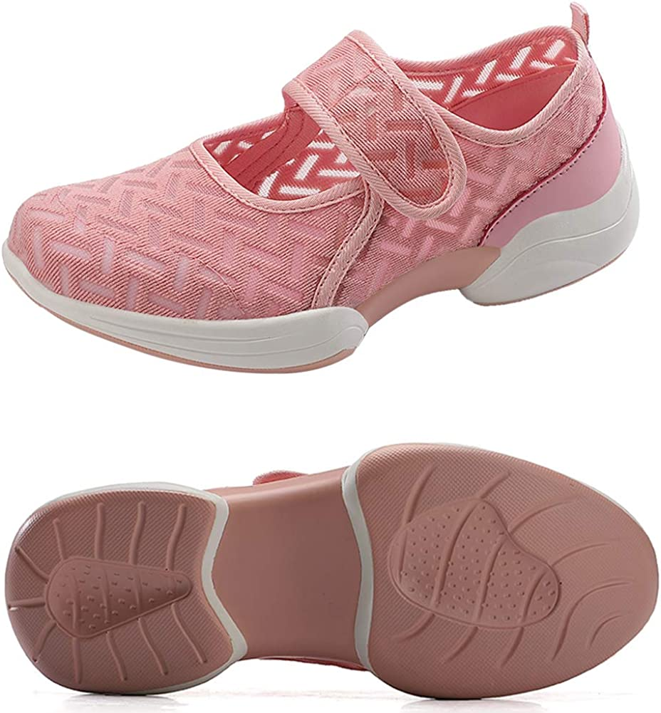 VIMISAOI Women's Comfortable Mesh Walking Shoes, Lightweight Soft Flat Fashion Sneakers, Hook and Loop Arch Support Shoes Pink
