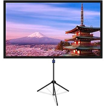 改良新版 4K対応 プロジェクタースクリーン 自立式 携帯型 三脚式 屋内屋外兼用 最大80型 16:9 視野角160° 防しわ加工 お手入れ簡単 (価格は品質に等しいます)