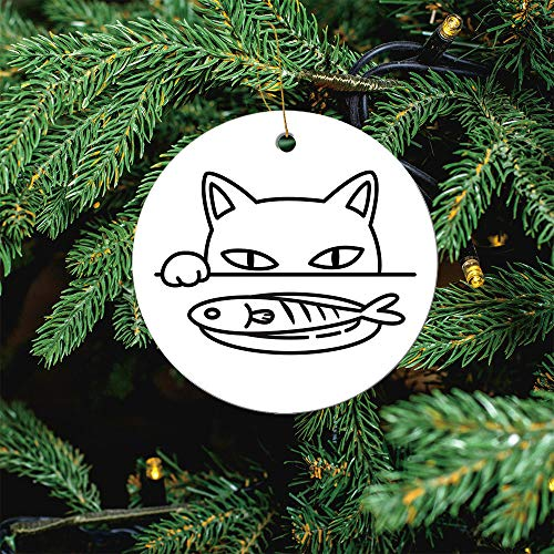 ALUONI Cat Vector Icon Logo Paw Fish Black Kitten Christmas Ornaments 2020 Christmas Ceramic Pendant Personalized Creative Christmas Decorations Double Sided Christmas Tree Ornament SW04033 3PCS