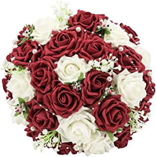 Febou Wedding Bridal Bouquet, Wedding Bride Bouquet, Wedding Holding Bouquet with Artificial Roses Lace Pearl Ribbon, Perfect for Wedding, Church, Party and Home Decor(Heart Pearl, White+Dark Red)