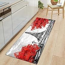 Modern Kitchen Mat Red Leaves Paris Tower Bedroom Entrance Doormat 3D Pattern Home Floor Decoration Living Room Carpet No...