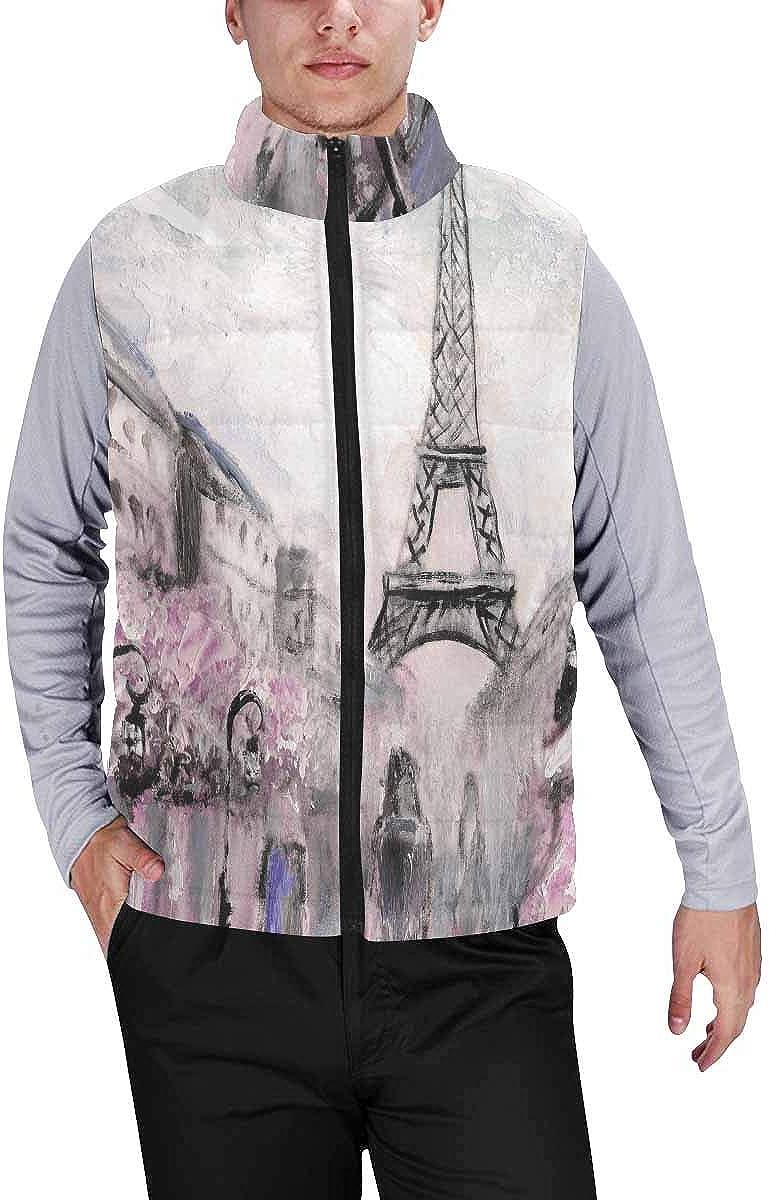 InterestPrint Winter Lightweight Personality Design Padded Vest for Men I Love Pug with American Symbols