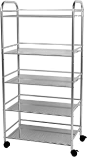 YKEASE 5-Shelf Shelving Units on Wheels Stainless Steel Kitchen Cart Microwave Stand - Bathroom Garage Storage Shelves 24 Inches Wide