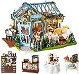 Junean Dollhouse Kit Casa de muñecas en Miniatura Habitación Creativa con Muebles Kit de casa de muñecas DIY con Movimiento Musical Escala 1:24 Rose Flower Garden Casa de muñecas para Regalo