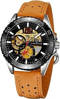 337 Mechanical Men Watch 3ATM Waterproof Luxury Business Luminous Male Watch Skeleton Wristwatch for Men with Leather Stra...