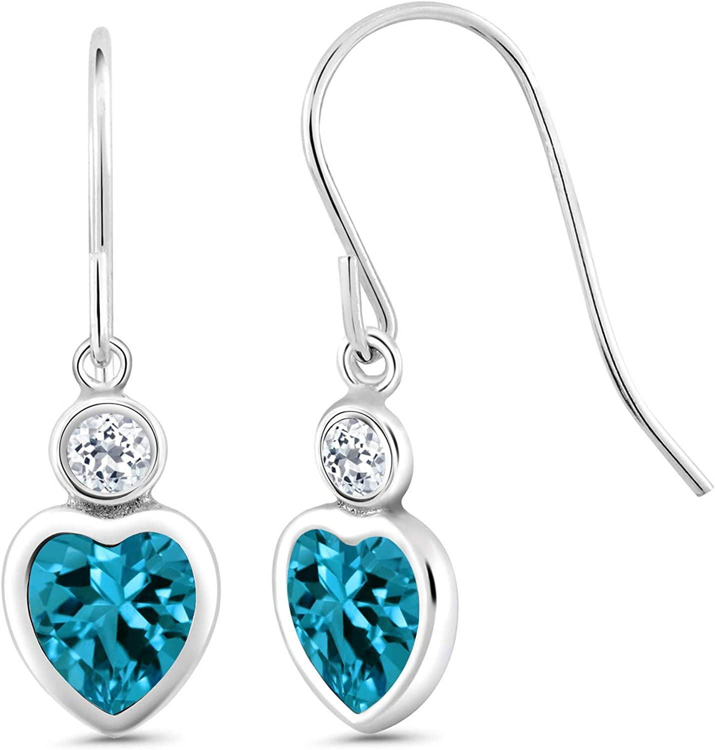 Beauty products Gem Stone King 2.18 Ct Heart London White Topaz Blue Shape Max 87% OFF