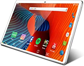 Tablet 10.1 inch Android Tablet with 2GB+32GB, 3G Phone Tablets & Dual Sim Card & 2MP+ 5MP Dual Camera, Quad Core Processor, 1280x800 IPS HD Display,GPS, FM (Silver)