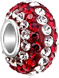 CharmSStory 925 Sterling Silver July Simulated Birthstone Red White Synthetic Crystal Charms Beads For Bracelets