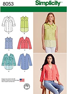 Simplicity 8053 Women's Button Up Blouse and Shirt Sewing Patterns, Sizes 6-14