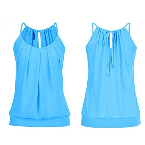 b5ad60ce119 Hengshikeji Women Summer Loose Wrinkled O Neck Cami Tank Tops Vest  Sleeveless Blouse Shirts Teen Girls