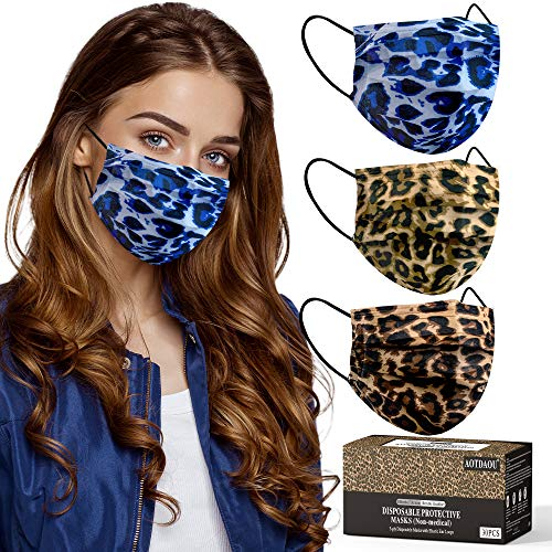 Cheetah Mask, Leopard disposable face masks 3-Ply Earloop for Adult Size Women, Breathable Fashionable Comfortable Cheetah Printed Disposable Face Masks with Design for Indoor Outdoor Home Office Travel - 30 Pack