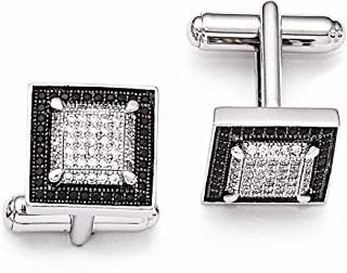 925 Sterling Silver Pave Black Rhodium plated and CZ Cubic Zirconia Simulated Diamond Brilliant Embers Cuff Links Jewelry ...