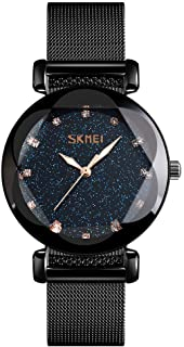 SKMEI Ladies Rose Gold Watches Starry Sky Fashion Analog Waterproof Stardust Casual Luminous Women Wrist Watch with Stainl...