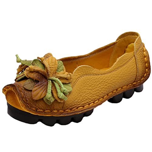 a5ddd49f Vogstyle Women's Spring/Summer/Autumn Vintage Flower Handmade Leather  Loafer Flats Shoes