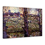 Wandbild Vincent Van Gogh Blick auf Arles - 70x50cm quer - Alte Meister Berühmte Gemälde Leinwandbild Kunstdruck Bild auf Leinwand