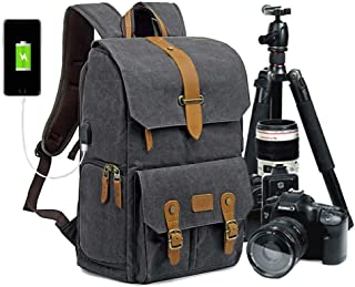 Abonnyc Camera Backpack Canvas SLR DSLR Camera Bag Back Open for DSLR Photography Bag with Quick Access Fit SLR Cameras 3-...