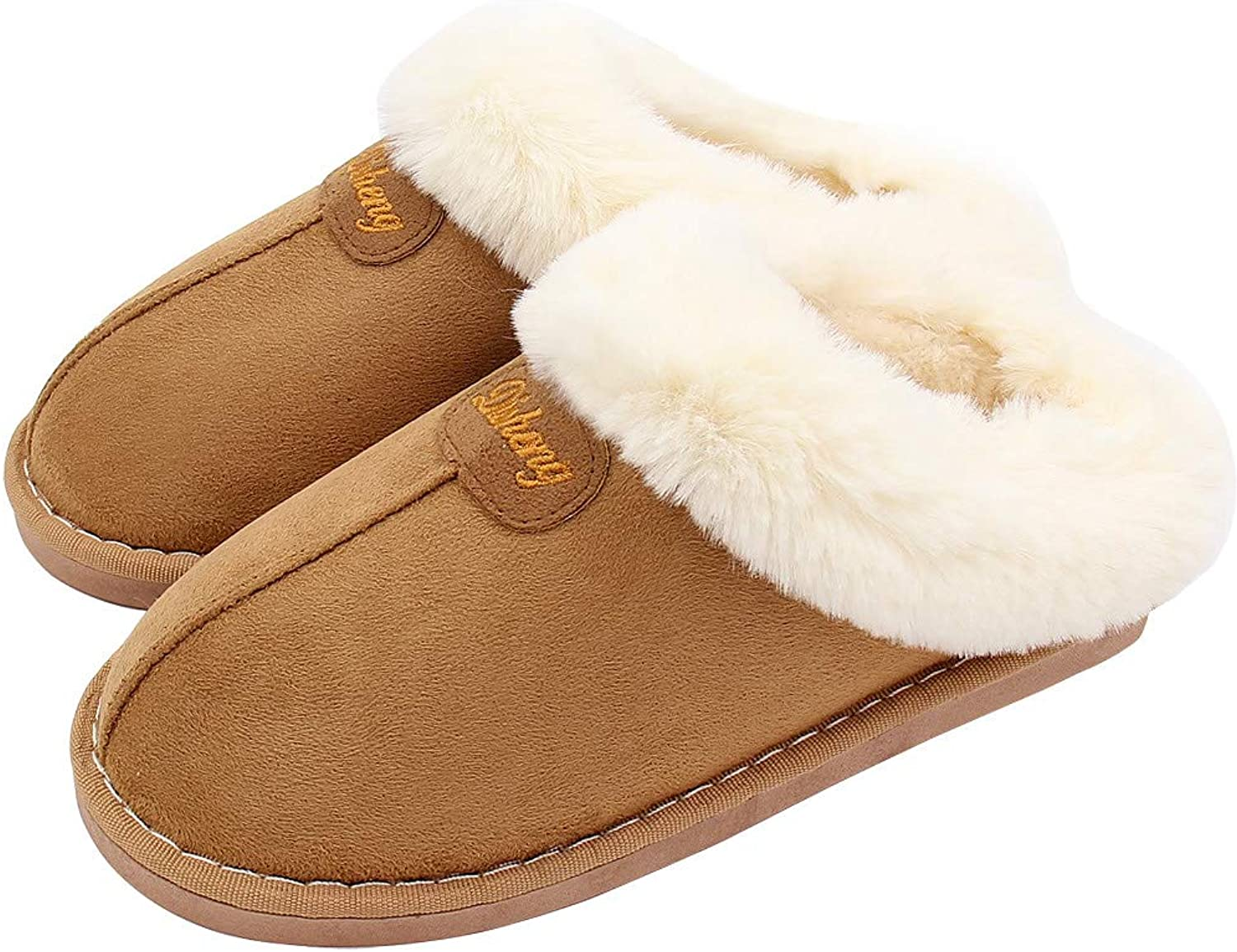 ALOTUS Unisex Thick Fur Warm Soft Slippers with Memory Foam Words Decoration Inside Outdoor Indoor Pink