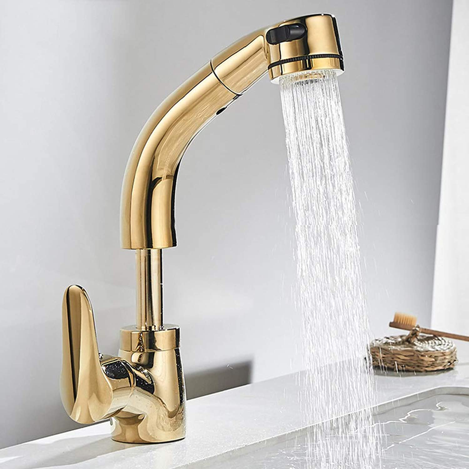 Xiangyaoyao Copper main body pull-type basin hot and cold water faucet, liftable washbasin universal faucet,gold