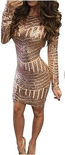 Elecenty Damen Knielang Rückenfrei Sommerkleid solide Rock Mädchen Pailletten Kleider Frauen Mode Langarm Kleid Hüfte Minikleid Kleidung Abendkleider Partykleid Hemdkleid Blusekleid